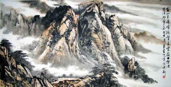 绘画集-51 山水四扇屏,黄山图片